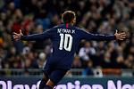Neymar Jr of Paris Saint-Germain FC celebrates goal during UEFA Champions League match between Real Madrid and Paris Saint-Germain FC at Santiago Bernabeu Stadium in Madrid, Spain. November 26, 2019. (ALTERPHOTOS/A. Perez Meca)