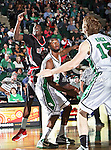 North Texas Mean Green forward Jacob Holmen (30) blocks out Arkansas State Red Wolves forward Brandon Peterson (15) during the NCAA  basketball game between the Arkansas State Red Wolves and the University of North Texas Mean Green at the North Texas Coliseum,the Super Pit, in Denton, Texas. UNT defeated Arkansas State 83 to 64..