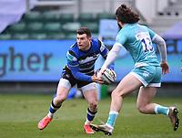 20th March 2021; Recreation Ground, Bath, Somerset, England; English Premiership Rugby, Bath versus Worcester Warriors; Ben Spencer of Bath passes under pressure from Oli Morris of Worcester Warriors