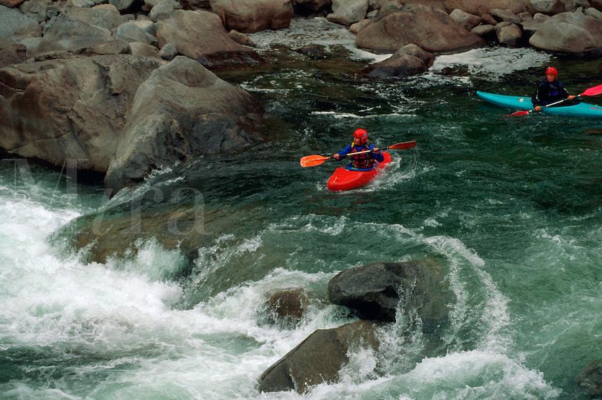Kayaking on the Wenatchee River. Leavenworth, Washington.