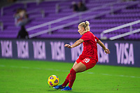 ORLANDO, FL - FEBRUARY 21: Adriana Leon #19 of the CANWNT kicks the ball during a game between Argentina and Canada at Exploria Stadium on February 21, 2021 in Orlando, Florida.