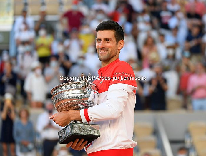 Trophy Ceremony following Djokovic's  Defeats of Tsitsipas