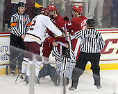 Keith Kaval, Kevin Hayes (BC - 12), Chase Drake (Wisconsin - 5), Nic Kerdiles (Wisconsin - 17), Bob Bernard, Judson Ritter - The Boston College Eagles defeated the visiting University of Wisconsin Badgers 9-2 on Friday, October 18, 2013, at Kelley Rink in Conte Forum in Chestnut Hill, Massachusetts.