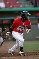 Julio Morban #17 of the High Desert Mavericks bats against the Visalia Rawhide at Stater Bros. Stadium on May 15, 2012 in Adelanto,California. (Larry Goren/Four Seam Images)