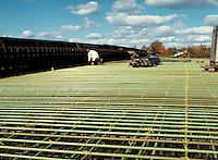 Concrete rebar of bridge, horz. New Britain CT USA.