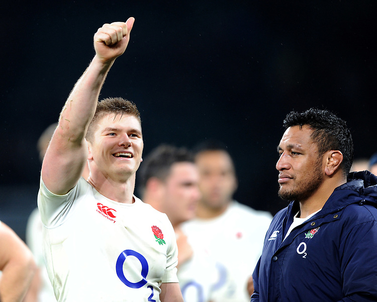 Owen Farrell of England enjoys the win after the Old Mutual Wealth Series match between England and South Africa at Twickenham Stadium on Saturday 12th November 2016 (Photo by Rob Munro)