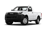 Stock pictures of low aggressive front three quarter view of 2019 Isuzu D-Max LT 2 Door Pick-up Low Aggressive