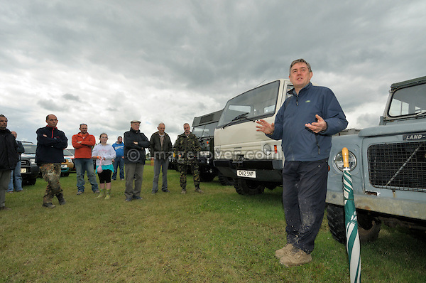 Mike Gould doing a talk on Land Rover vehicle development at the Dunsfold Collection weekend. Dunsfold Collection of Land Rovers Open Day 2011, Dunsfold, Surrey, UK. --- No releases available, but releases may not be necessary for certain uses. Automotive trademarks are the property of the trademark holder, authorization may be needed for some uses.