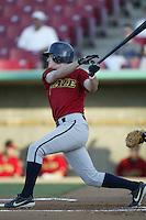 Jace Brewer of the Bakersfield Blaze bats during a California League 2002 season game against the High Desert Mavericks at Mavericks Stadium, in Adelanto, California. (Larry Goren/Four Seam Images)