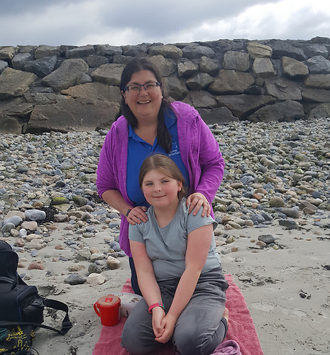 Dr Noirin Burke and her daughter Roisín on Grattan Beach, Galway