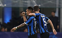 Football Soccer: UEFA Champions League -Group Stage- Group F Internazionale Milano vs Borussia Dortmund, Giuseppe Meazza stadium, October 23, 2019.<br /> Inter's Lautaro Martinez (l) celebrates after scoring with his teammate Roberto Gagliardini (r) during the Uefa Champions League football match between Internazionale Milano and Borussia Dortmund at Giuseppe Meazza (San Siro) stadium, on October 23, 2019.<br /> UPDATE IMAGES PRESS/Isabella Bonotto