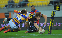Ruben Love scores in the corner during the Mitre 10 Cup rugby match between Wellington Lions and  Bay Of Plenty Steamers at Sky Stadium in Wellington, New Zealand on Friday, 25 September 2020. Photo: Dave Lintott / lintottphoto.co.nz
