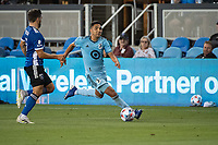 SAN JOSE, CA - AUGUST 17: Emanuel Reynoso #10 of Minnesota United dribbles the ball during a game between San Jose Earthquakes and Minnesota United FC at PayPal Park on August 17, 2021 in San Jose, California.