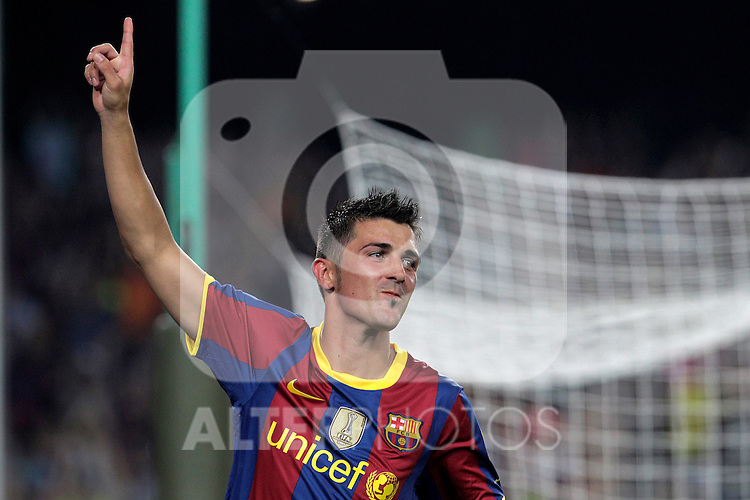 FC Barcelona's David Villa celebrates his first goal with FC Barcelona during Joan Gamper Trophy. August 25,2010. (ALTERPHOTOS/Acero)