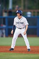 Charlotte Stone Crabs center fielder Jake Stone (21) leads off second base during a game against the Palm Beach Cardinals on April 20, 2018 at Charlotte Sports Park in Port Charlotte, Florida.  Charlotte defeated Palm Beach 4-3.  (Mike Janes/Four Seam Images)