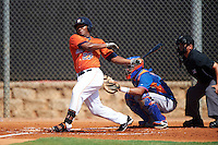 GCL Astros first baseman Cristopher Luciano (23) at bat in front of catcher Juan Uriarte and umpire Josh Gilreath during the first game of a doubleheader against the GCL Mets on August 5, 2016 at Osceola County Stadium Complex in Kissimmee, Florida.  GCL Astros defeated the GCL Mets 4-1 in the continuation of a game started on July 21st and postponed due to inclement weather.  (Mike Janes/Four Seam Images)