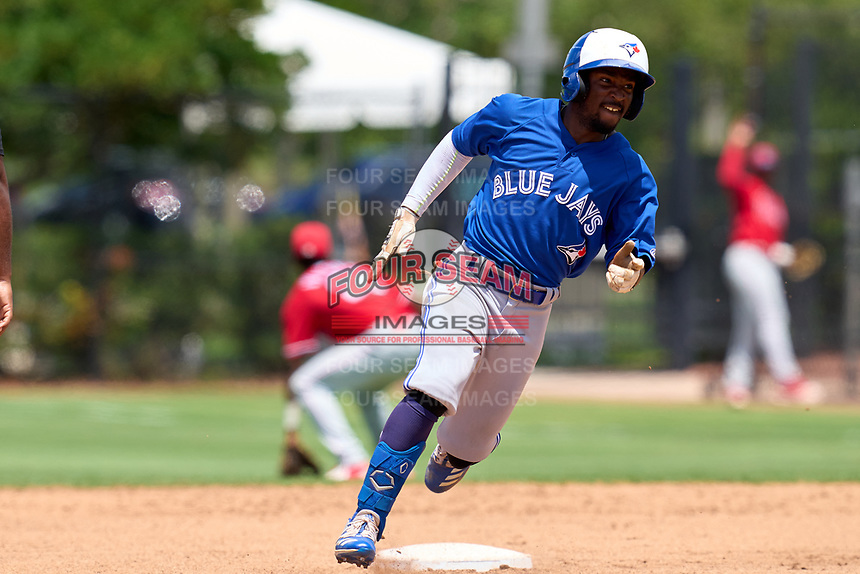 Toronto Blue Jays Justin Ammons (29) running the bases during an Extended Spring Training game against the Philadelphia Phillies on June 12, 2021 at the Carpenter Complex in Clearwater, Florida. (Mike Janes/Four Seam Images)