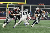 FOXBOROUGH, MA - NOVEMBER 24: New England Patriots Runningback Rex Burkhead #34 runs after a receiving a short pass during a game between Dallas Cowboys and New England Patriots at Gillettes on November 24, 2019 in Foxborough, Massachusetts.