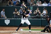 Evan Skoug (9) of the Winston-Salem Dash at bat against the Asheville Tourists at Truist Stadium on September 17, 2021 in Winston-Salem, North Carolina. (Brian Westerholt/Four Seam Images)