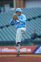 North Carolina Tar Heels relief pitcher Austin Bergner (45) in action against the Boston College Eagles in Game Five of the 2017 ACC Baseball Championship at Louisville Slugger Field on May 25, 2017 in Louisville, Kentucky. The Tar Heels defeated the Eagles 10-0 in a game called after 7 innings by the Mercy Rule. (Brian Westerholt/Four Seam Images)