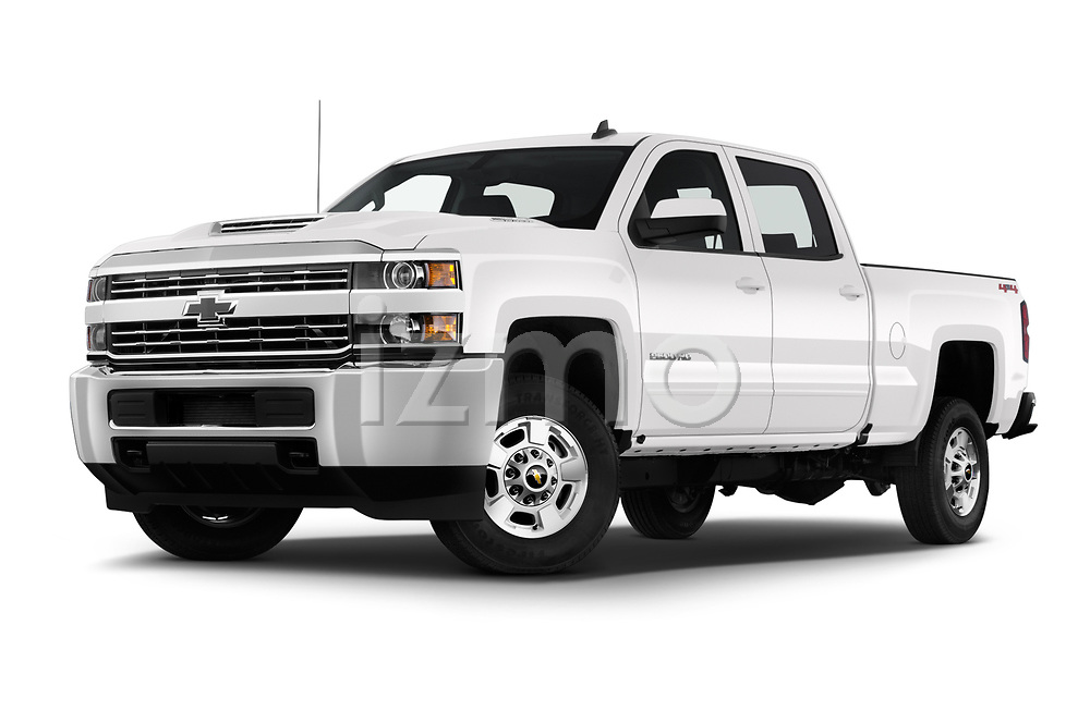 Stock pictures of low aggressive front three quarter view of a 2018 Chevrolet Silverado 2500HD LT 4WD Crew Cab 4 Door Pick Up