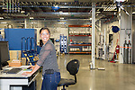 July 6, 2016. Greenville, South Carolina. <br />  Kassy Hart, an additive manufacturing engineer, works on a Coordinate Measurement Machine to measure the flex tip of a gas turbine. The machine uses 26 measurement points to quickly and accurately measure recently manufactured parts. <br />  At the General Electric Gas Turbine factory, engineers  design, produce, test and repair gas turbines for generating electricity. These turbines weigh more than 900,000 pounds and can create internal combustion temperatures up to 2,900 degrees F. Depending on the model, one of the GE turbines can produce enough electricity for half a million American households.