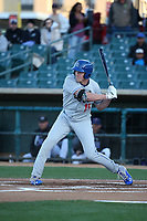 Luke Raley (15) of the Rancho Cucamonga Quakes bats against the Lancaster JetHawks at The Hanger on April 20, 2017 in Lancaster, California. Lancaster defeated Rancho Cucamonga 4-0. (Larry Goren/Four Seam Images)