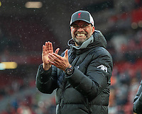 23rd May 2021; Anfield, Liverpool, England; EPL Premier League football, Liverpool versus Crystal Palace:  Liverpool's manager Jurgen Klopp applauds the supporters during a lap of honor after the Premier League match between Liverpool and Crystal Palace at Anfield