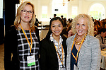 SOUTHINGTON  CT. - 29 October 2019-10229SV24- Kim Mix of Wolcott, Kim Nguyen of Waterbury, and Regina McNamara of Wolcott attend the Waterbury Chamber annual Business Women's Forum in Southington Tuesday.<br />  Steven Valenti Republican-American