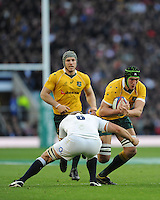 Rob Simmons of Australia tackled by Chris Robshaw of England during the Old Mutual Wealth Series match between England and Australia at Twickenham Stadium on Saturday 3rd December 2016 (Photo by Rob Munro)