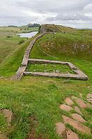 Northumberland,  England, UK.  Milecastle 39, Castle Nick, on Hadrian's Wall (Pennine Way) Footpath.