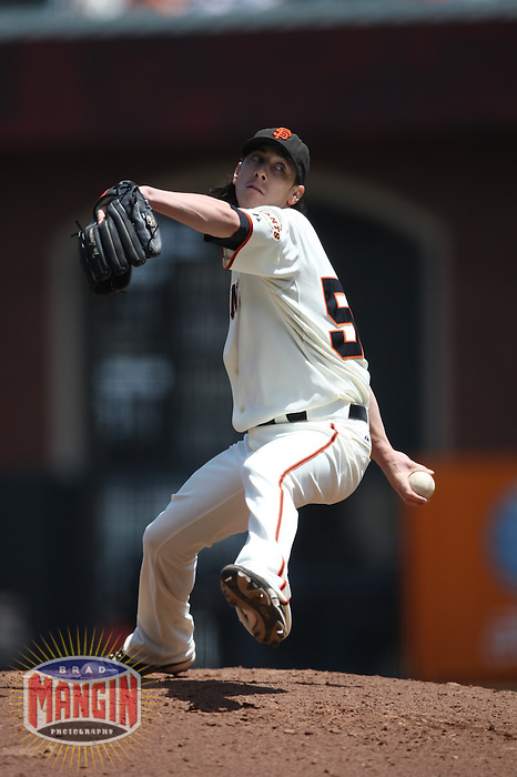 SAN FRANCISCO - JUNE 17:  Tim Lincecum of the San Francisco Giants pitches during the game against the Los Angeles Angels of Anaheim at AT&T Park in San Francisco, California on Wednesday, June 17, 2009.  The Angels defeated the Giants 4-3.  Photo by Brad Mangin