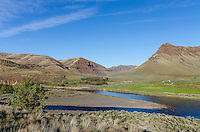 30 Mile Creek entering John Day River and old Rattray River Ranch.  Oregon.