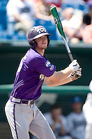 TCU 3B Jantzen Witte in Game 13 of the NCAA Division One Men's College World Series on June 26th, 2010 at Johnny Rosenblatt Stadium in Omaha, Nebraska.  (Photo by Andrew Woolley / Four Seam Images)