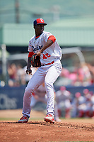 Reading Fightin Phils Franklyn Kilome (45) delivers a pitch during the second game of a doubleheader against the Portland Sea Dogs on May 15, 2018 at FirstEnergy Stadium in Reading, Pennsylvania.  Reading defeated Portland 9-8.  (Mike Janes/Four Seam Images)
