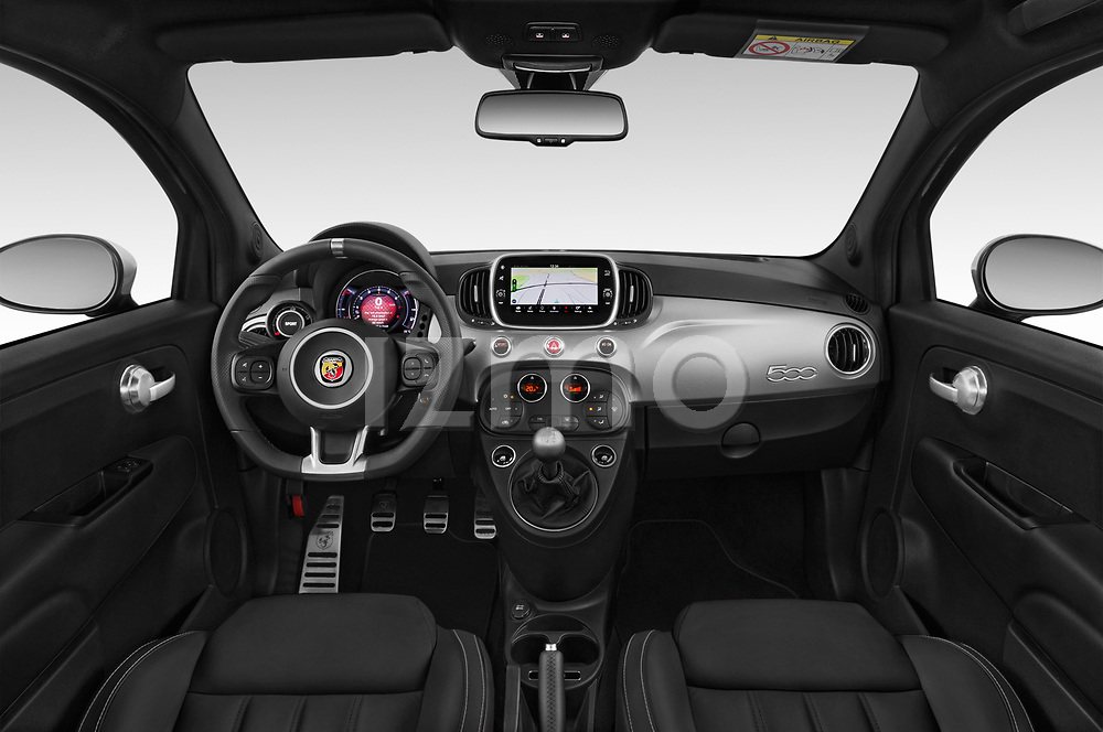 Stock photo of straight dashboard view of a 2018 Abarth 595 Turismo Base 2 Door Convertible