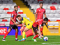 Lincoln City's Conor McGrandles is fouled by Oxford United's Matty Taylor<br /> <br /> Photographer Chris Vaughan/CameraSport<br /> <br /> The EFL Sky Bet League One - Saturday 12th September 2020 - Lincoln City v Oxford United - LNER Stadium - Lincoln<br /> <br /> World Copyright © 2020 CameraSport. All rights reserved. 43 Linden Ave. Countesthorpe. Leicester. England. LE8 5PG - Tel: +44 (0) 116 277 4147 - admin@camerasport.com - www.camerasport.com - Lincoln City v Oxford United