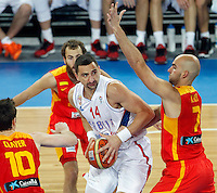 "Rasko Katic of Serbia in action during European basketball championship ""Eurobasket 2013"" quarter-final basketball game between Serbia and Spain in Stozice Arena in Ljubljana, Slovenia, on September 18. 2013. (credit: Pedja Milosavljevic  / thepedja@gmail.com / +381641260959)"