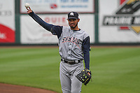Colorado Springs Sky Sox infielder Luis Sardinas (2) warms up prior to a Pacific Coast League game against the Iowa Cubs on May 10th, 2015 at Principal Park in Des Moines, Iowa.  Iowa defeated Colorado Springs 14-2.  (Brad Krause/Four Seam Images)