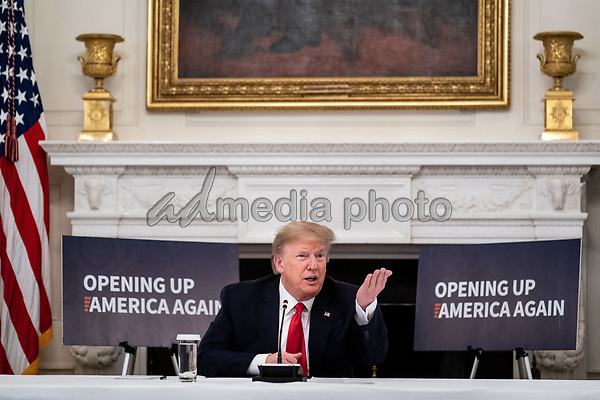 United States President Donald J. Trump makes remarks during a roundtable discussion with industry leaders on reopening the American economy in the State Dining Room of the White House in Washington, DC on May 29, 2020. <br /> Credit: Erin Schaff / Pool via CNP/AdMedia