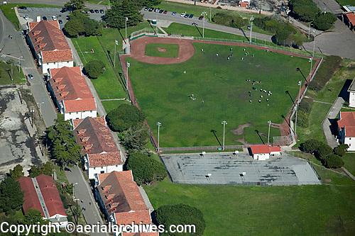 aerial photograph of a baseball diamond, Presidio, San Francisco, California