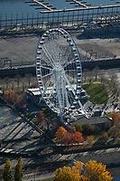 aerial photograph of the Montreal Observation Wheel, Montreal, La Grande Roue de Montréal, Bonsecours Basin Island, Quebec,  Old Port of Montreal, Canada | photographie aérienne de la Roue d'observation de Montréal, Montréal, La Grande Roue de Montréal, Île du Bassin Bonsecours, Québec, Vieux-Port de Montréal, Canada