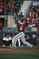 Zach Cerbo (30) of the Arizona Sun Devils bats against the Southern California Trojans at Dedeaux Field on March 24, 2017 in Los Angeles, California. Southern California defeated Arizona State, 5-4. (Larry Goren/Four Seam Images)
