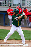 Beloit Snappers second baseman Nate Mondou (10) at the plate during a Midwest League game against the Peoria Chiefs on April 15, 2017 at Pohlman Field in Beloit, Wisconsin.  Beloit defeated Peoria 12-0. (Brad Krause/Four Seam Images)