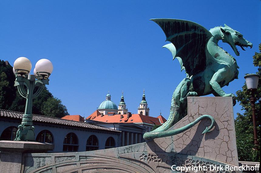 Slowenien, Lubljana Drachenbruecke, Dom