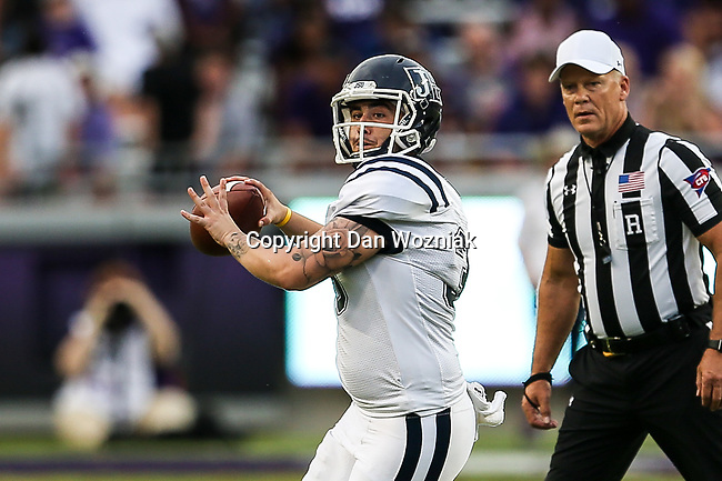 Jackson State Tigers punter Christian Jacquemin (39) in action during the game between the Jackson State Tigers and the TCU Horned Frogs at the Amon G. Carter Stadium in Fort Worth, Texas.