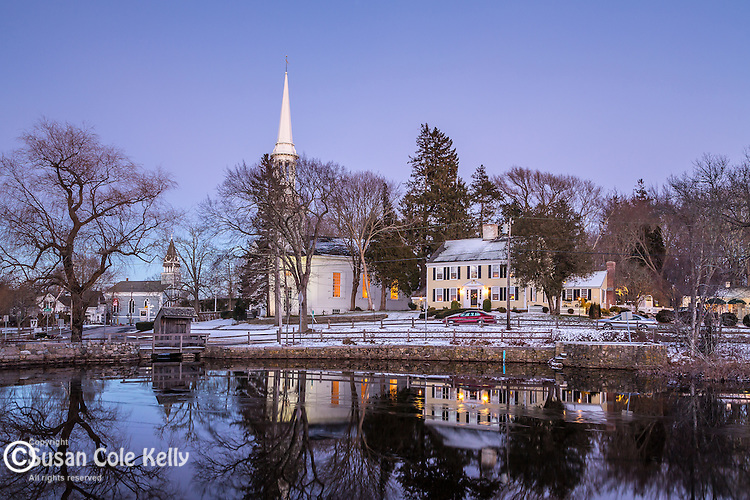 Night falls on the village of Sandwich, Cape Cod, Massachusetts, USA
