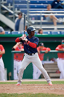 Lowell Spinners right fielder Ramfis Berroa (3) at bat during a game against the Batavia Muckdogs on July 15, 2018 at Dwyer Stadium in Batavia, New York.  Lowell defeated Batavia 6-2.  (Mike Janes/Four Seam Images)