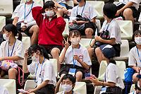 KASHIMA, JAPAN - JULY 27: Fans cheer before a game between Australia and USWNT at Ibaraki Kashima Stadium on July 27, 2021 in Kashima, Japan.