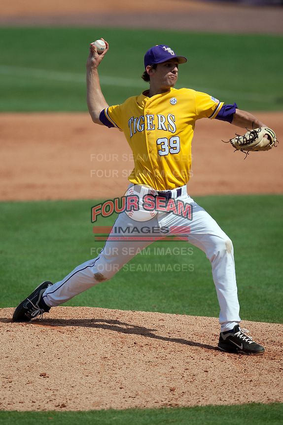 LSU Tigers pitcher Joey McCune #39 delivers during the NCAA baseball game against the Mississippi State Bulldogs on March 18, 2012 at Alex Box Stadium in Baton Rouge, Louisiana. LSU defeated Mississippi State 4-2. (Andrew Woolley / Four Seam Images).